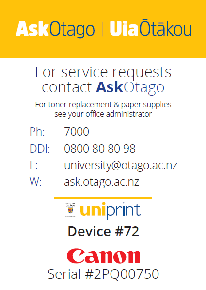 Screenshot showing what a Uniprintstation printing number notice looks like