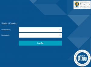 The login screen for Student Desktop