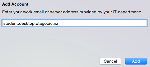 Screenshot of text box showing server address student.desktop.otago.ac.nz