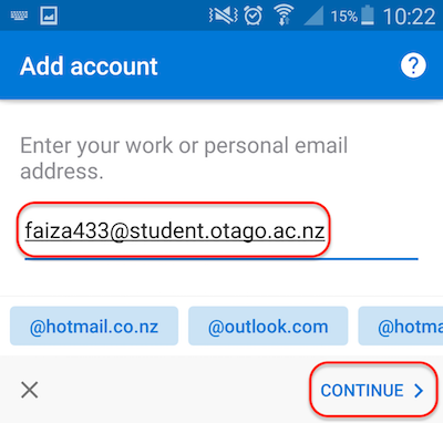 Enter email address in Android Outlook