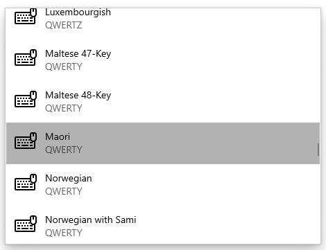 Screenshot of Māori QWERTY keyboard option selected from drop-down list