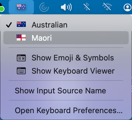Screenshot of country flag icon on macOS and language options displayed