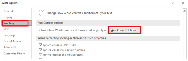 Screenshot of Word options with AutoCorrect Options selected under Proofing tab