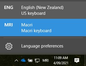 Screenshot of system tray Windows 10 with Māori keyboard MRI selected