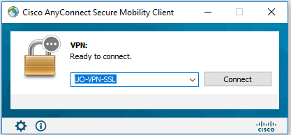 Cisco AnyConnect prompt showing the older VPN service