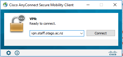 Cisco AnyConnect prompt showing the new VPN service profile entered