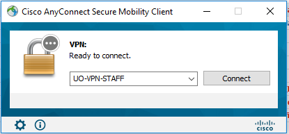 Cisco AnyConnect prompt showing the new VPN service profile as default