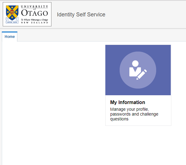 Identity Self Service home page