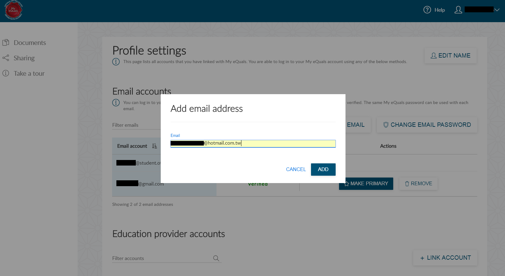 Adding another email address in My eQuals