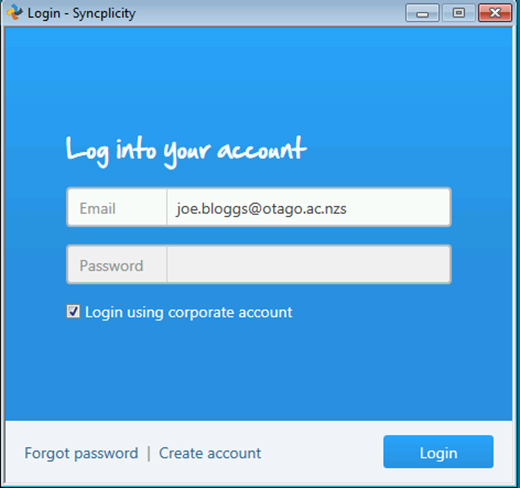 Screenshot of log in to Syncplicity screen using your email address