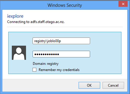 Prompt to log in with University credentials