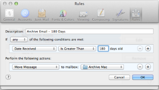 Archive Email Rule creation in Mac Mail