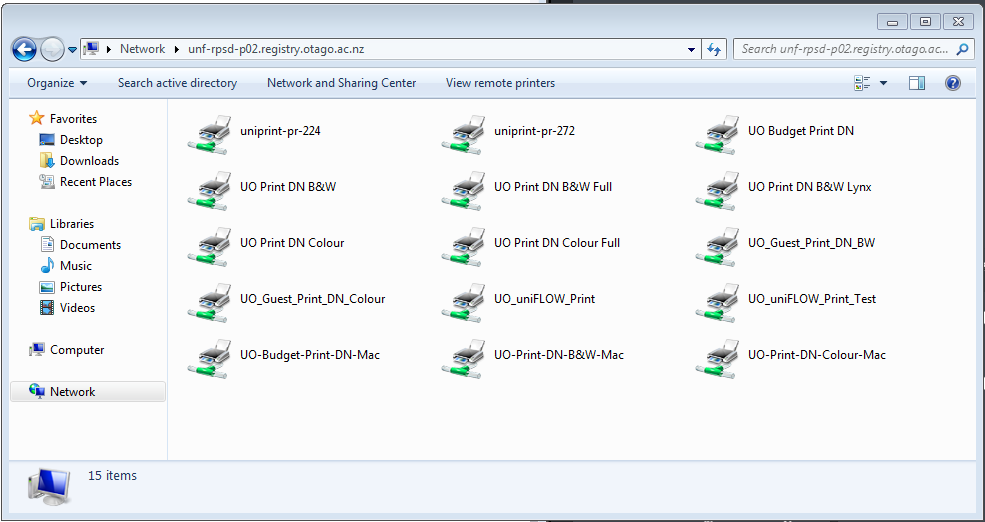 File Explorer showing available printers