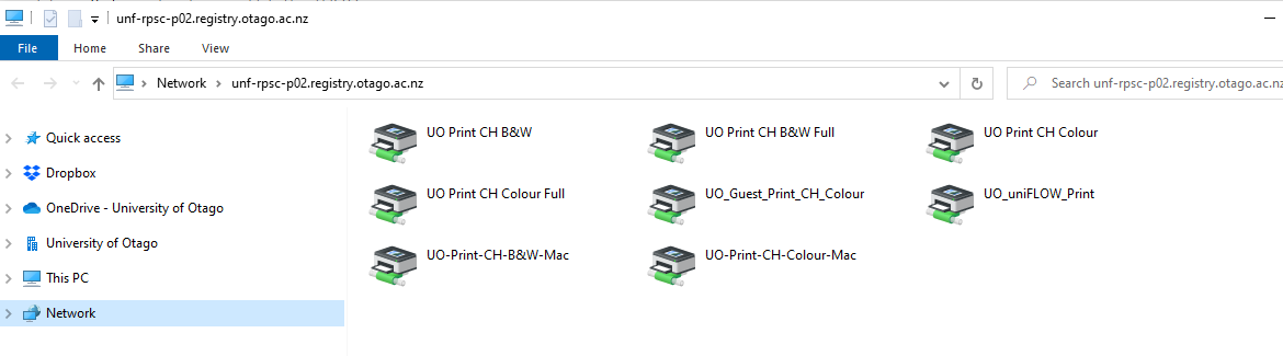 File Explorer showing available printers in Chrisrchurch