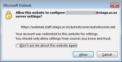 Asks to allow this website to configure the shared mailbox server settings