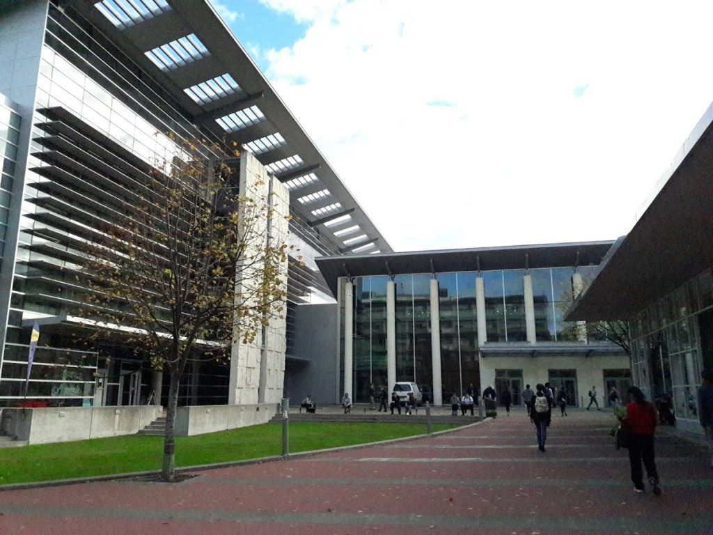 The southern entrance to the Information Services building