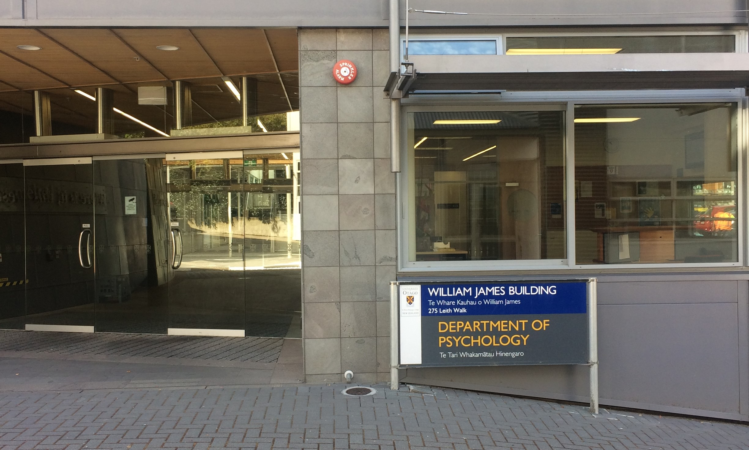 The entrance to the William James building