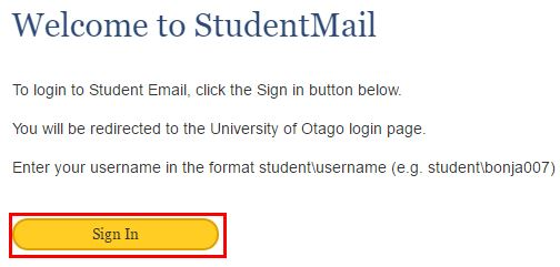 The StudentMail login page
