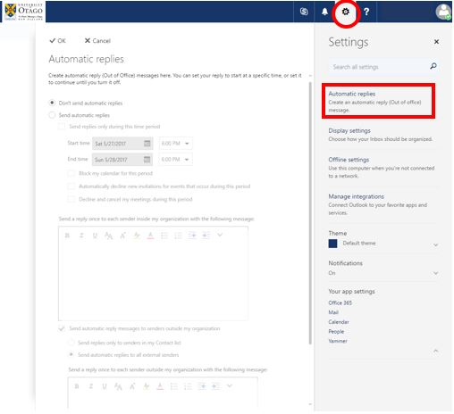 Location of the Settings cog in StudentMail