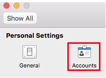 The Accounts button in Personal Settings in Outlook