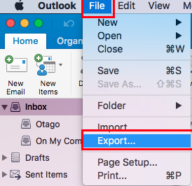 Exporting from Outlook