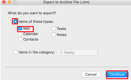 Export to Archive File prompt in Outlook