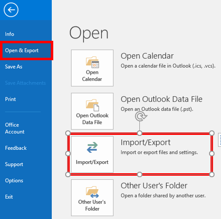 Import/Export option in Outlook