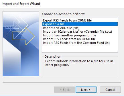 The Export To File option in Outlook