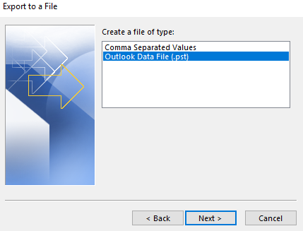 Create a file of type: Outlook Data File (.pst)