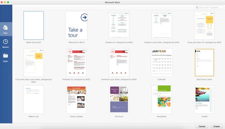 Screenshot of Microsoft Word templates screen when you open word
