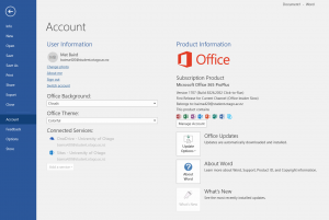 Account information for Word on Windows in Office 365