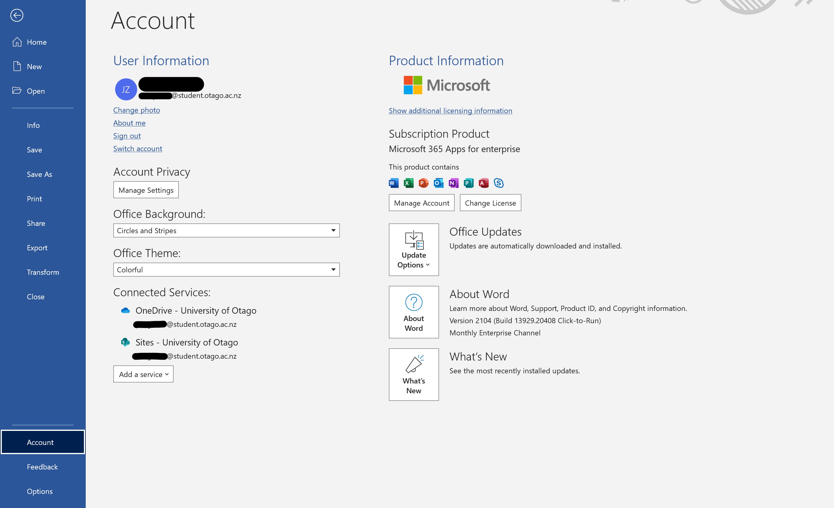 Screenshot of account information for Word on Windows in Microsoft 365