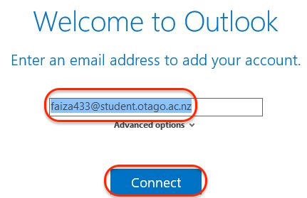 Screenshot showing entering your student email address in Outlook for Windows