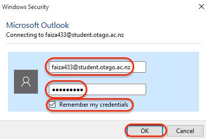 Screenshot showing entering your student email address again if prompted in Outlook for Windows