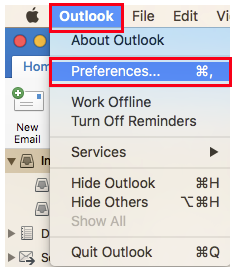 Finding Preferences in Outlook for Mac