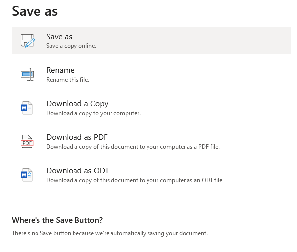 Screenshot showing the options for saving in Microsoft 365 for the web