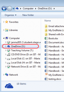 Screenshot of Windows Explorer highlighting your OneDrive