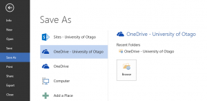Screenshot of Word Save As menu showing OneDrive - University of Otago selected