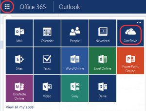 Office 365 Online showing the 9 squares with OneDrive highlighted