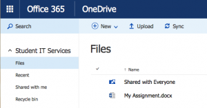 Screenshot showing view of files in OneDrive online