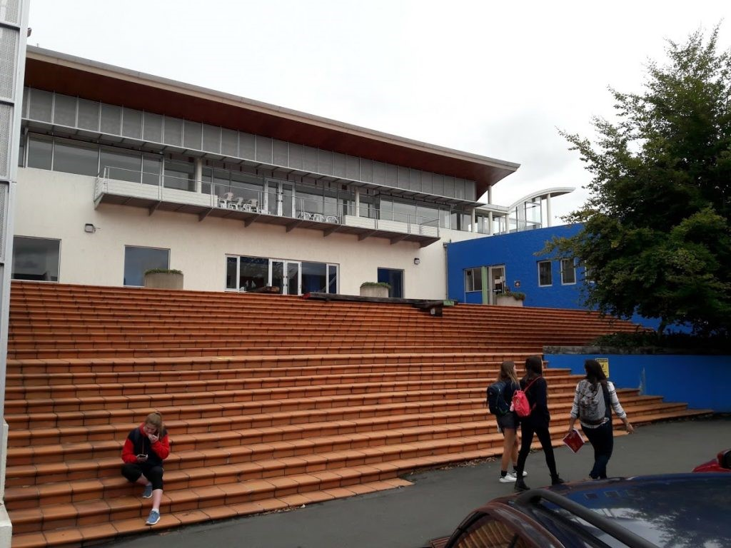 The entrance to the Physical Education building