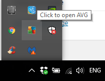 Anti-virus icons show in your system tray