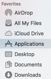 Applications option in Finder