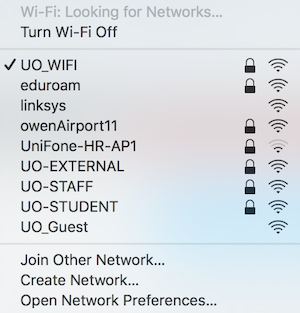 The UO_WIFI showing in the networks list with a tick next to it
