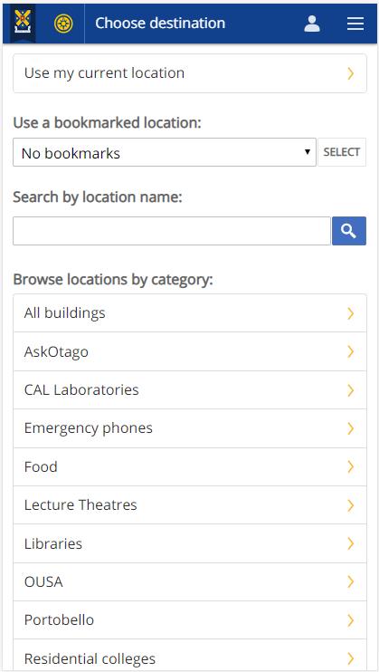 Screenshot of the Choose Destination screen