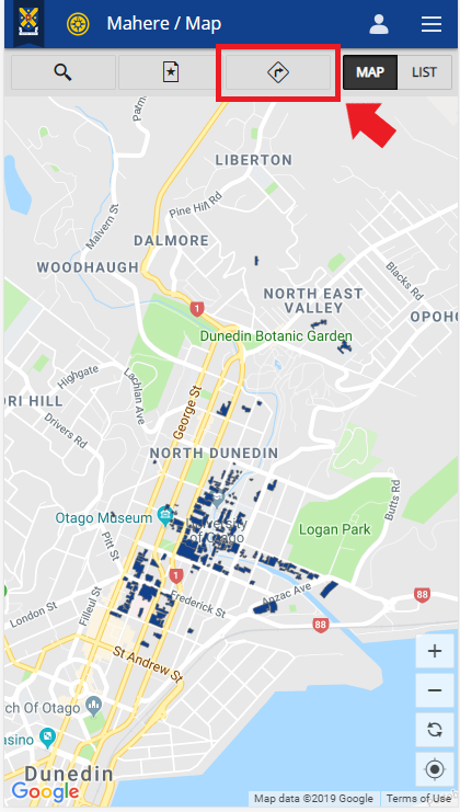 Screenshot showing location of the Directions button on the Campus map