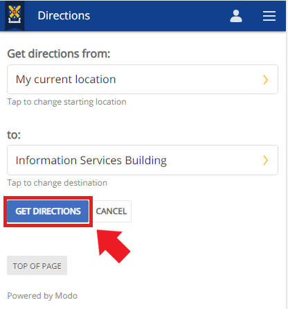 The Get Directions screen