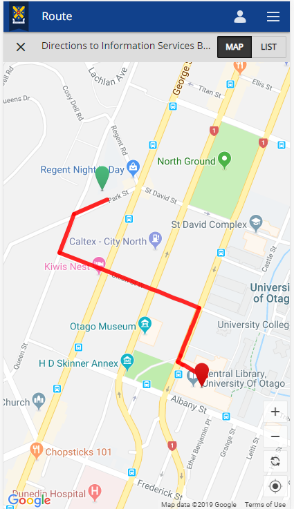 Screenshot of campus map showing a pathway to the destination