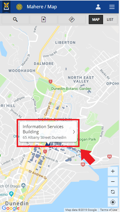 Screenshot showing location of the building details pop-up on the Campus map