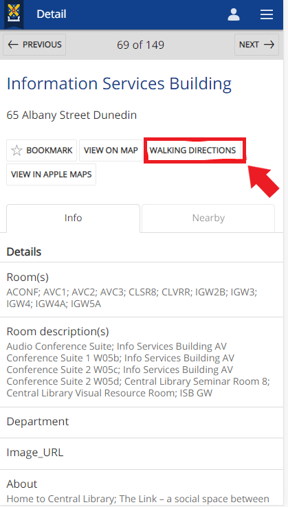 Screenshot showing the Walking Directions link on the individual building details page